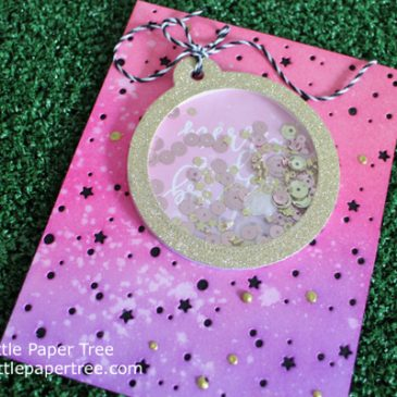 Pink and Gold Bauble Shaker Card